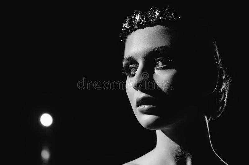 Contrasting black and white portrait of ballerina stock image