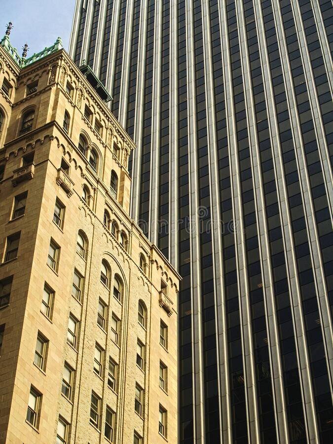 Contrasting buildings in San Francisco. Cityscape; contrasting newer and older architectural style buildings in San Francisco California stock images