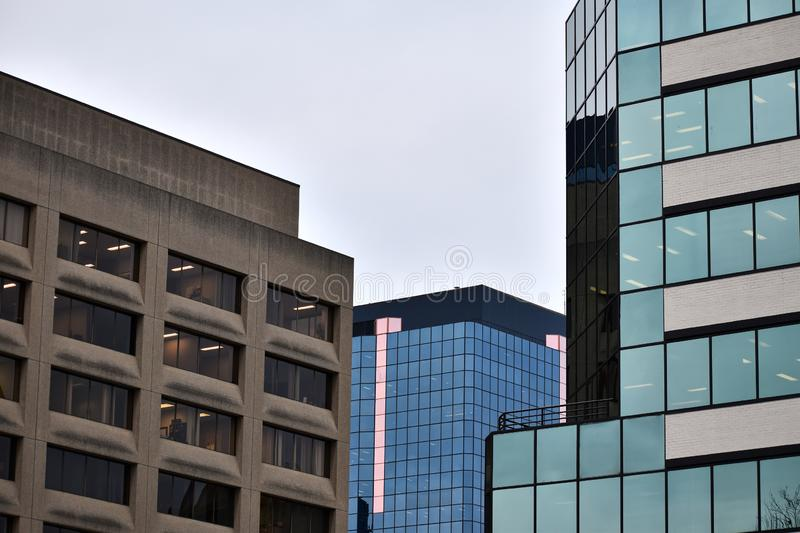 Contrasting buildings. A selection of contrasting buildings in the central business district royalty free stock photo