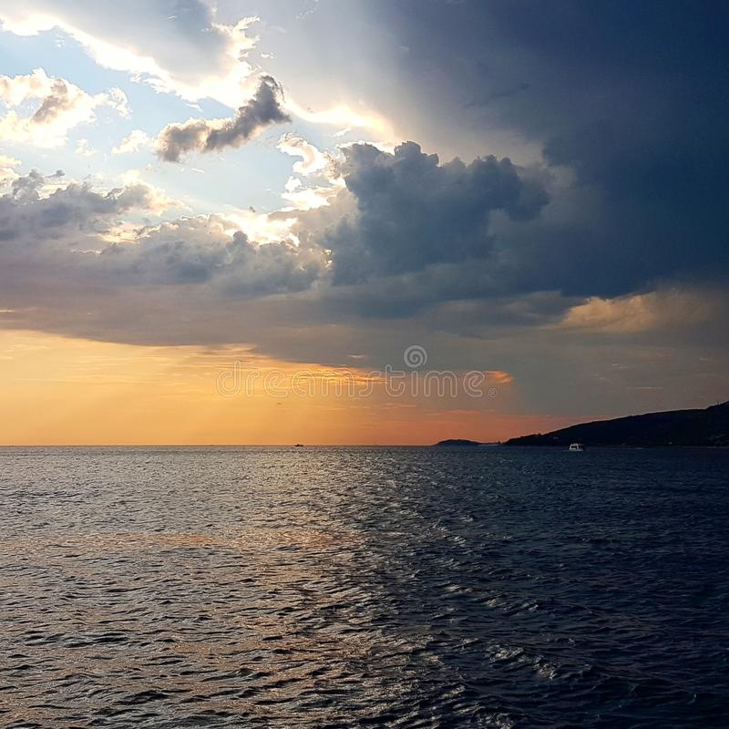 Contrasting sunset. In Croatia royalty free stock images