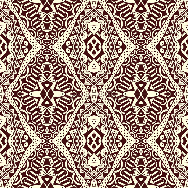Contrasto Lacy Seamless Tribal Pattern royalty illustrazione gratis