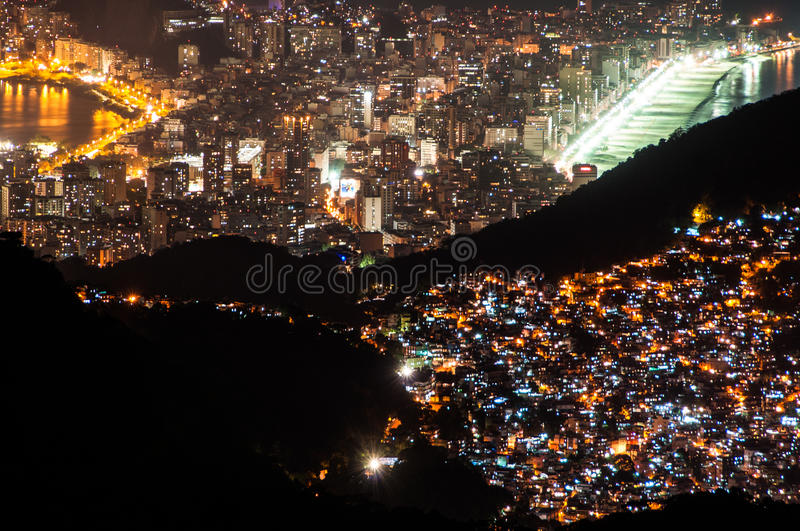 Contrasts of Rio de Janeiro at night royalty free stock images