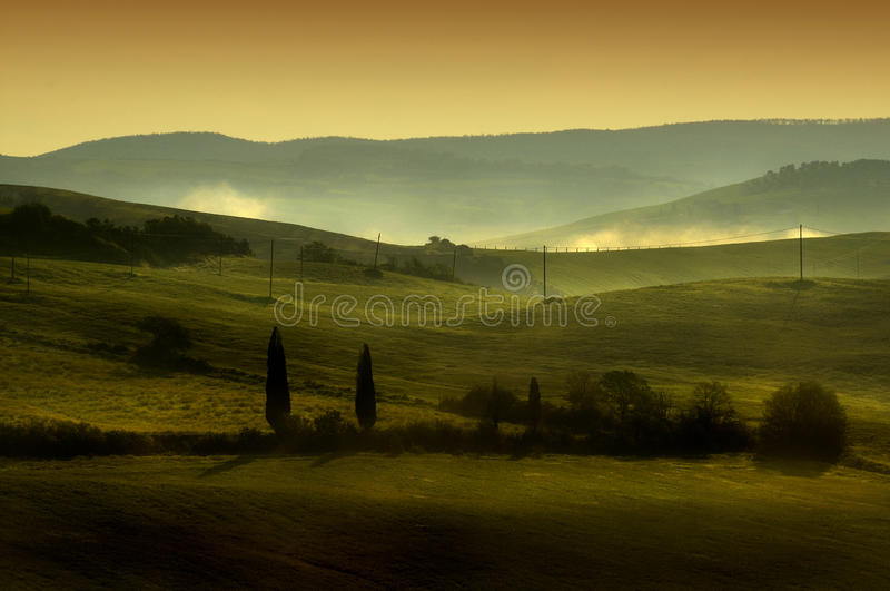 Contrasts in Tuscan Hills. A down view of Val d'Orcia - Siena - Italy stock photos