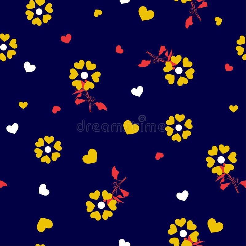 Contrasty de peu de coeur jaune créer de belles fleurs soufflant dans le modèle sans couture de vent dans la conception de vecteu illustration stock