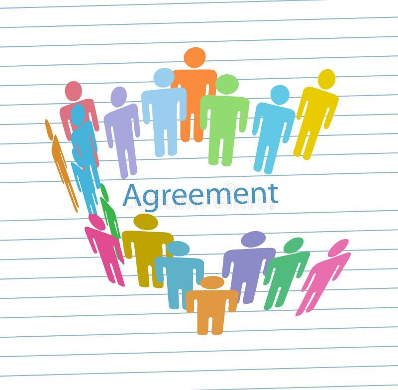Contrat d'accord de consensus de rassemblement de gens de compagnie illustration de vecteur