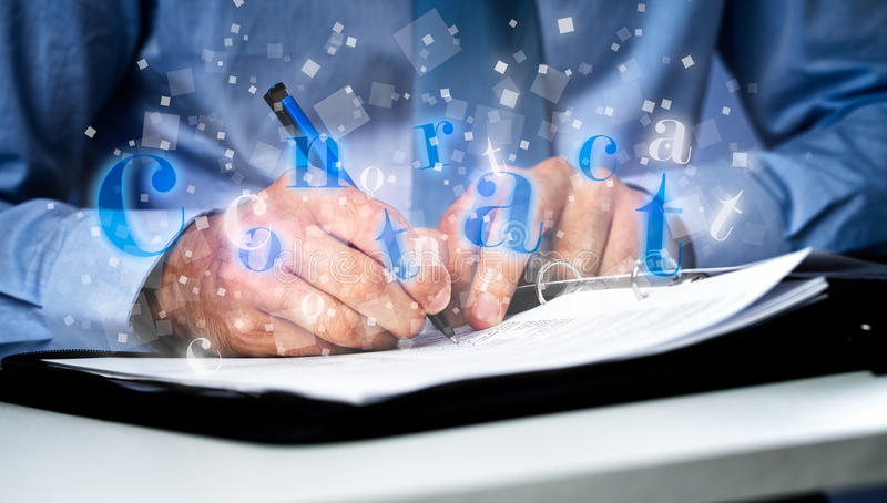 Contrat d'affaires - homme d'affaires signant un contrat illustration de vecteur
