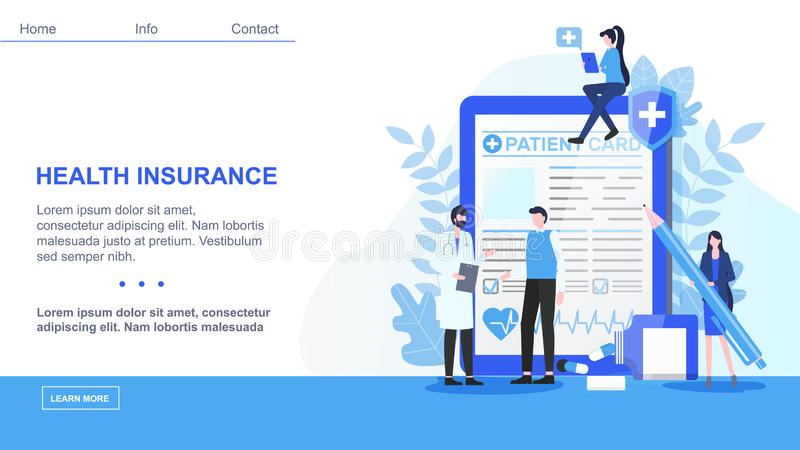 Contrat d'assurance masculin de docteur Patient Sign Health illustration libre de droits