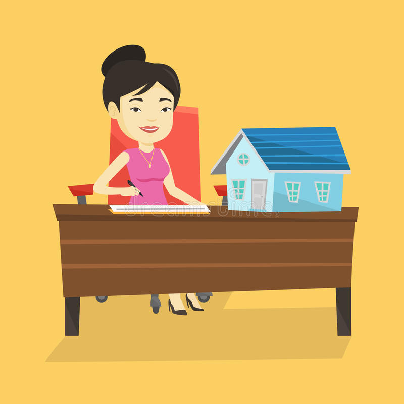 Contrat de signature de vrai agent immobilier illustration libre de droits