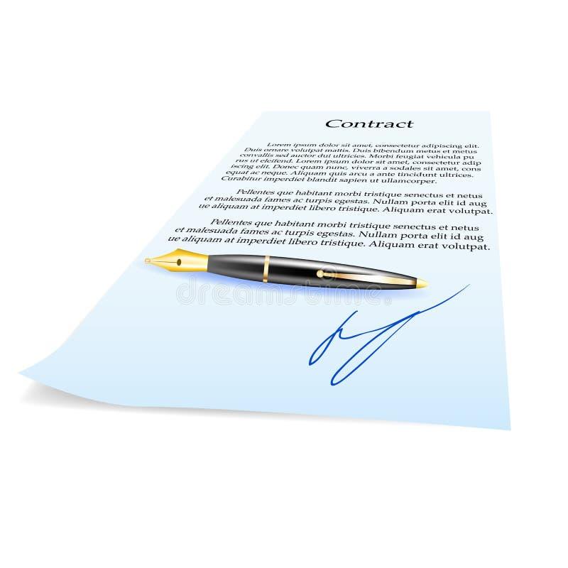 Contrat et stylo d'affaires. Illustration de vecteur illustration libre de droits