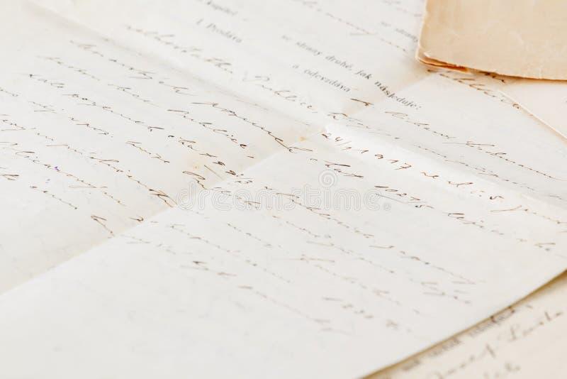 Contrat manuscrit très vieux photo stock