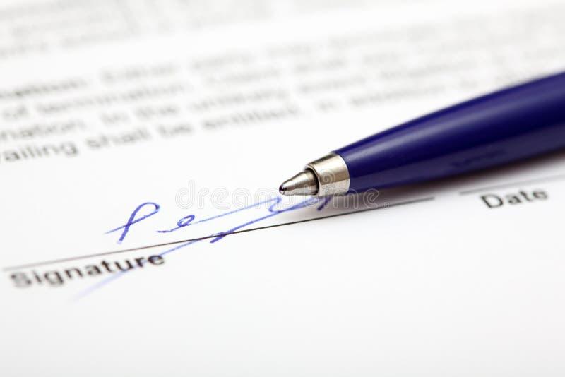 Contrat signé photo stock
