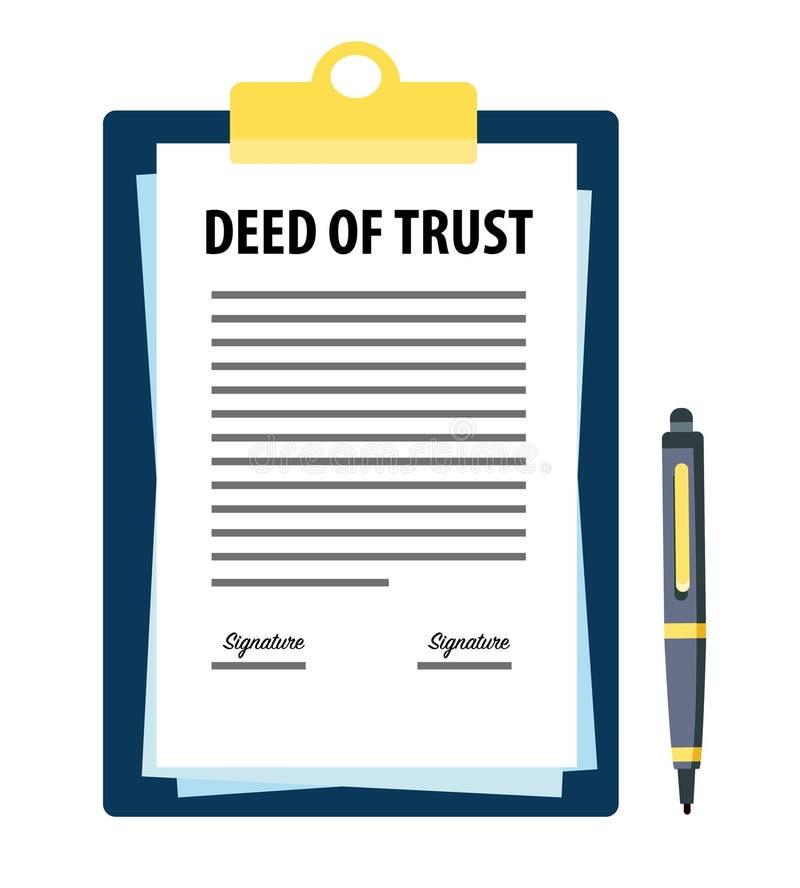 Contrat signé du document de confiance avec le stylo illustration de vecteur