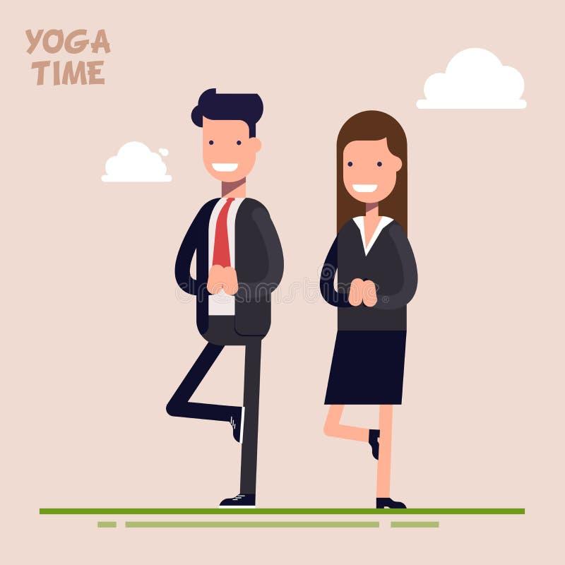 Contratan al hombre de negocios y a la empresaria o a los encargados a yoga Árbol de la actitud Época de la descarga y de la rela ilustración del vector