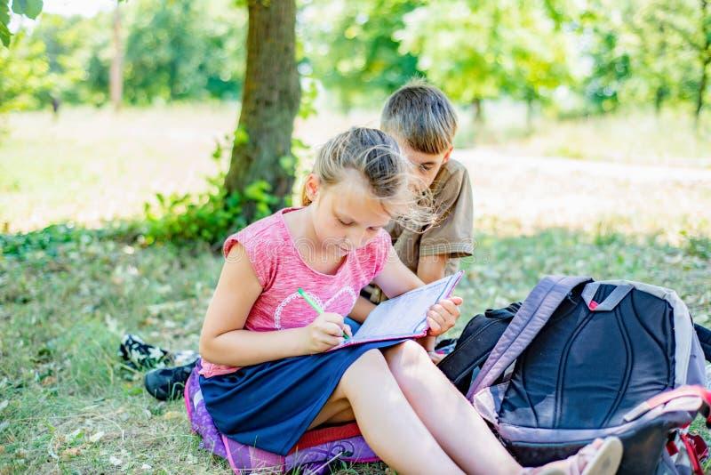 Contratan al muchacho y a la muchacha a la educación, la muchacha escribe en un cuaderno, y el muchacho le dice imágenes de archivo libres de regalías