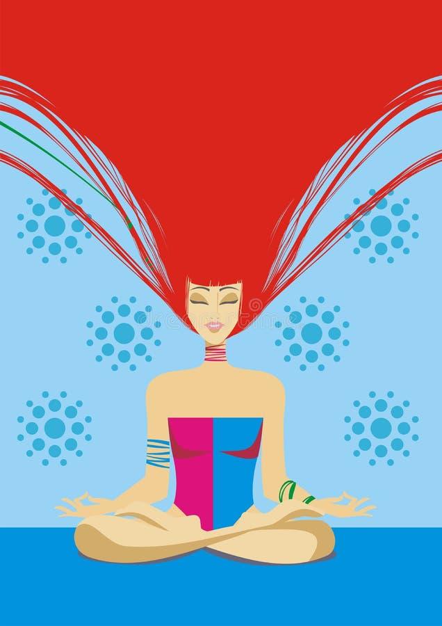 Contratan a la muchacha a yoga libre illustration