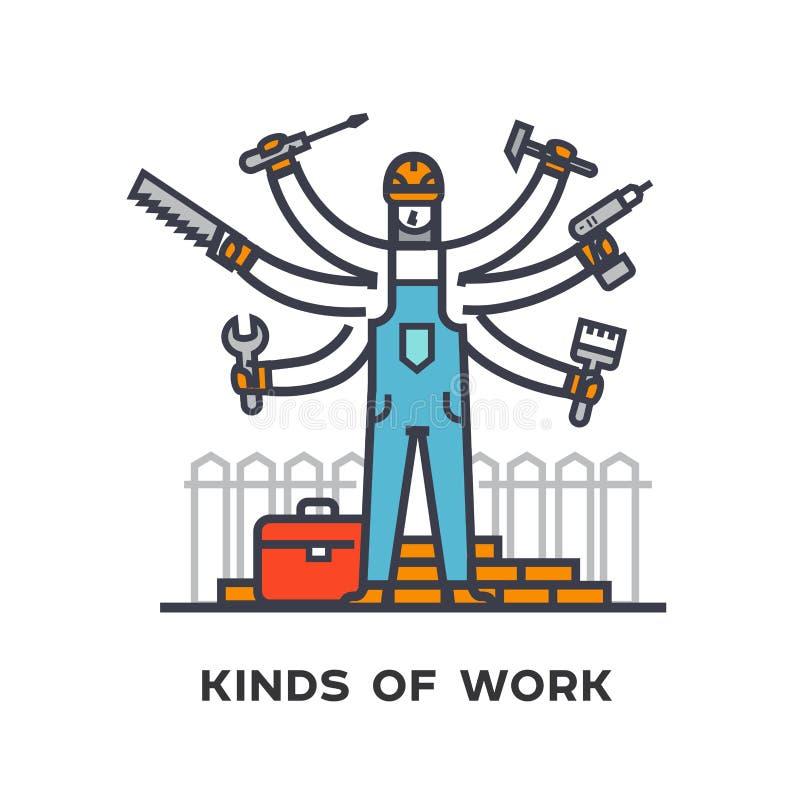 Contratando um trabalhador, reparando uma casa, um homem multi-armado com ferramentas ilustração royalty free