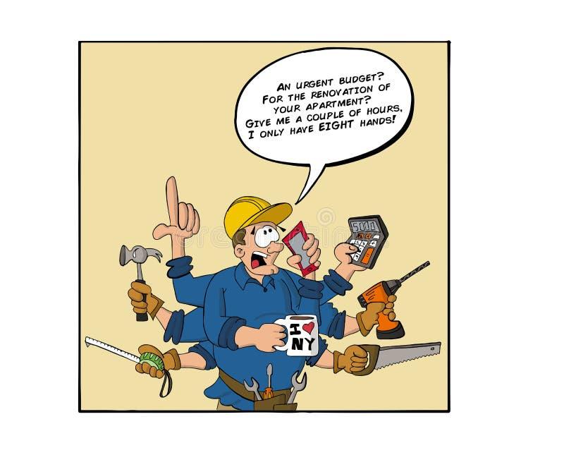 Contratante com as oito mãos que respondem ao telefone ilustração do vetor