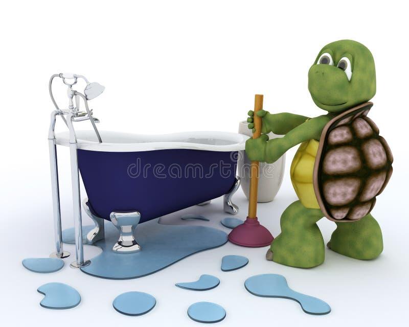 Contratante do encanamento da tartaruga ilustração stock