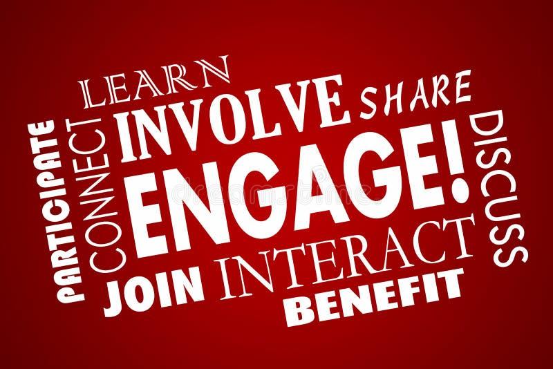Contrate envolvem participam juntam-se à colagem interativa ilustração royalty free