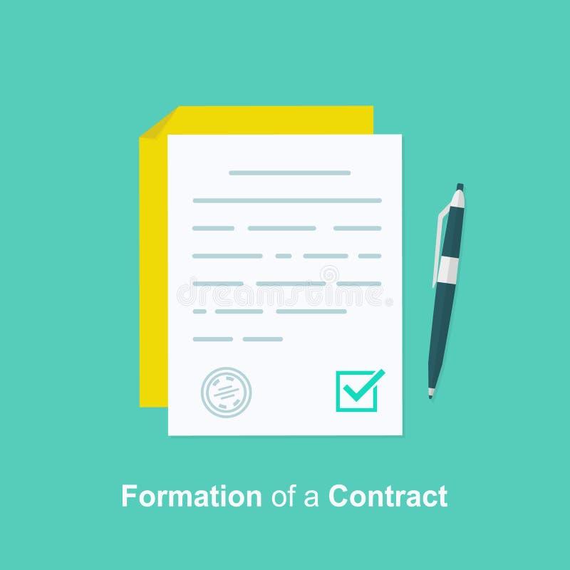 Contrate la creación, formación del documento, concepto de la obligación, último empapelará, las condiciones de los términos del  ilustración del vector