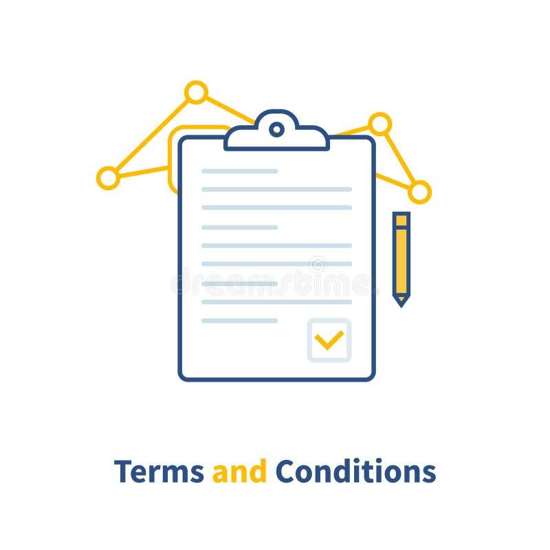 Contrate termos e condições, papel do original, escrita criativa, leia o breve resumo, atribuição Ilustração do vetor ilustração do vetor