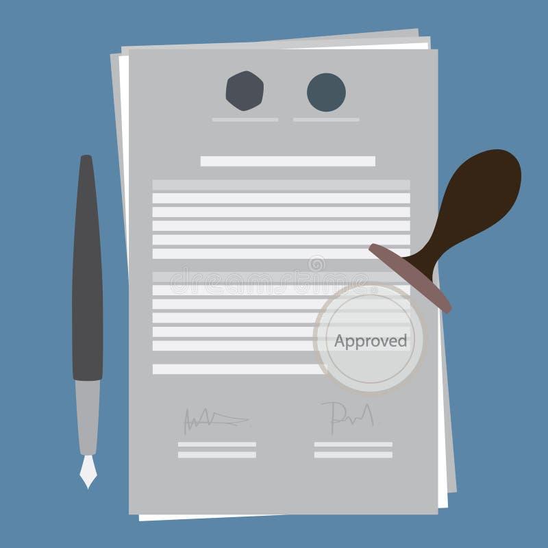 Contrato aprobado ilustración del vector