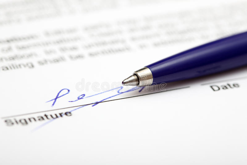 Contrato assinado foto de stock