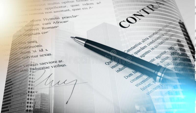 Contrato assinado; exposição múltipla foto de stock