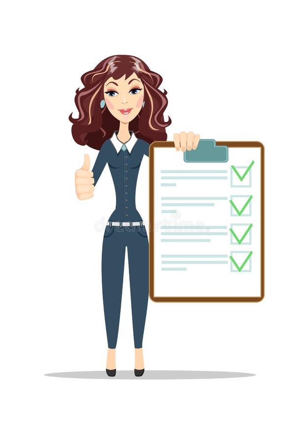 Contrato bem sucedido da posse da mulher de negócio ilustração do vetor