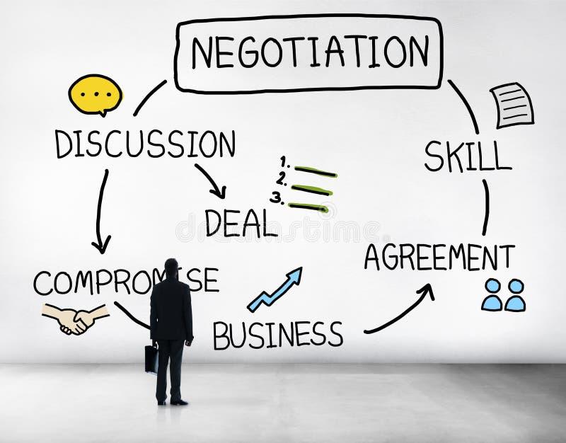 Contrato Concep de la colaboración de la discusión de la cooperación de la negociación imagenes de archivo