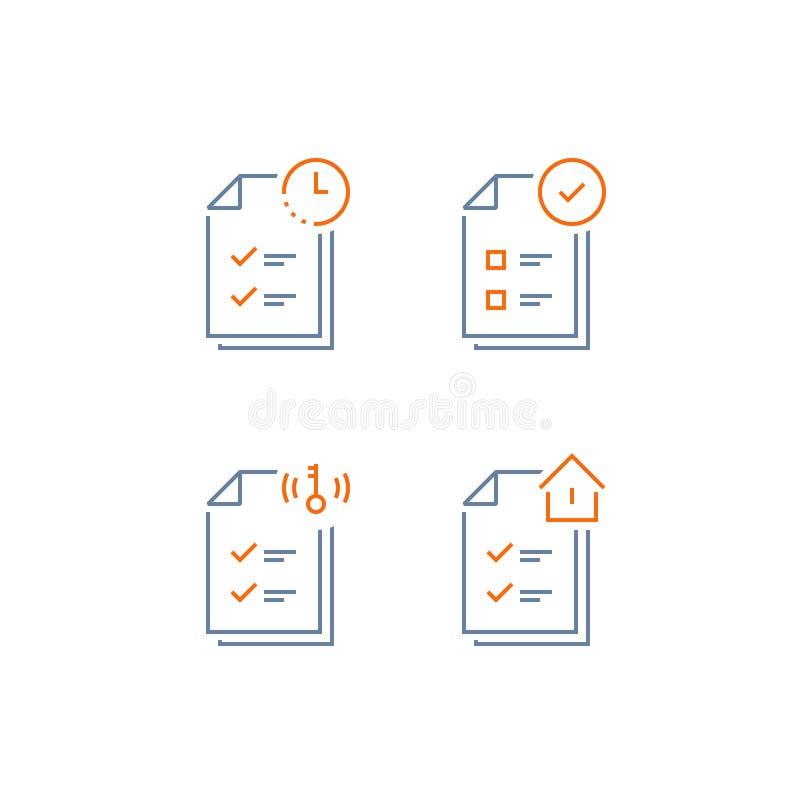 Contrato de alquiler, condiciones del documento, forma de la solicitud de hipoteca, lista de control de la aprobación de préstamo ilustración del vector