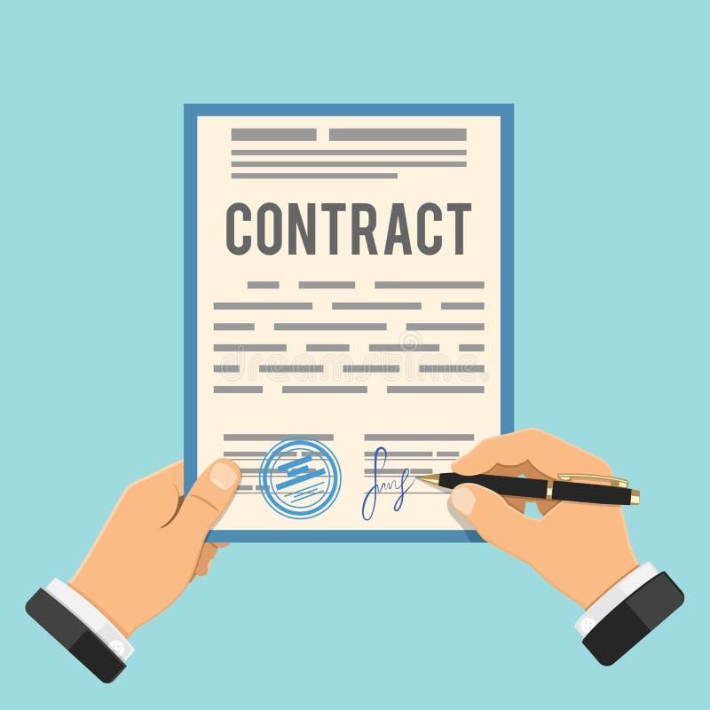 Contrato de assinatura do homem de negócios ilustração do vetor