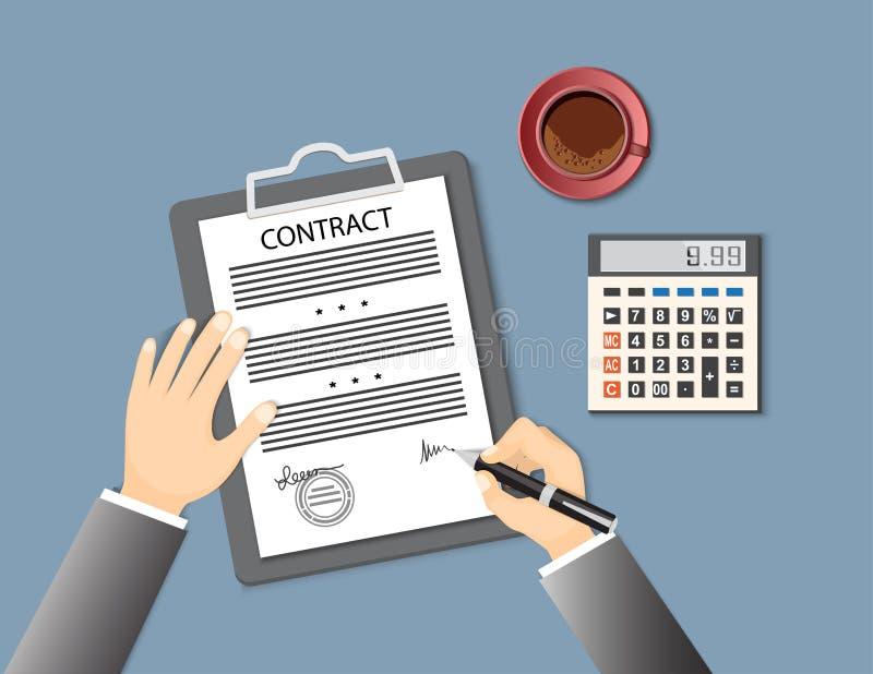 Contrato de firma con la calculadora y la taza de café stock de ilustración