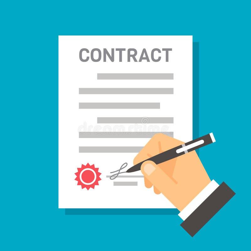 Contrato de firma de la mano plana del diseño stock de ilustración