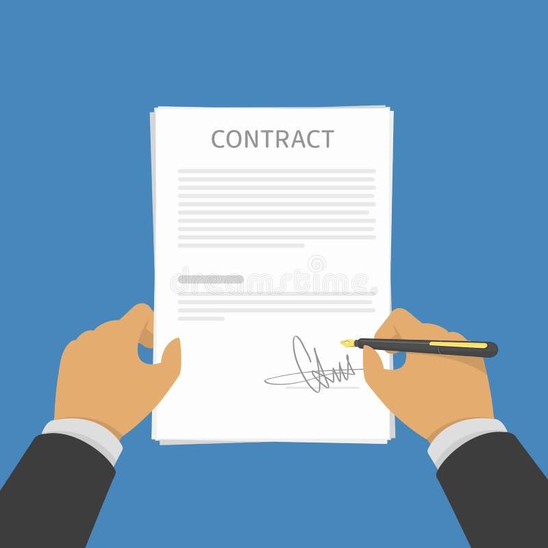 Contrato de firma del hombre de negocios stock de ilustración