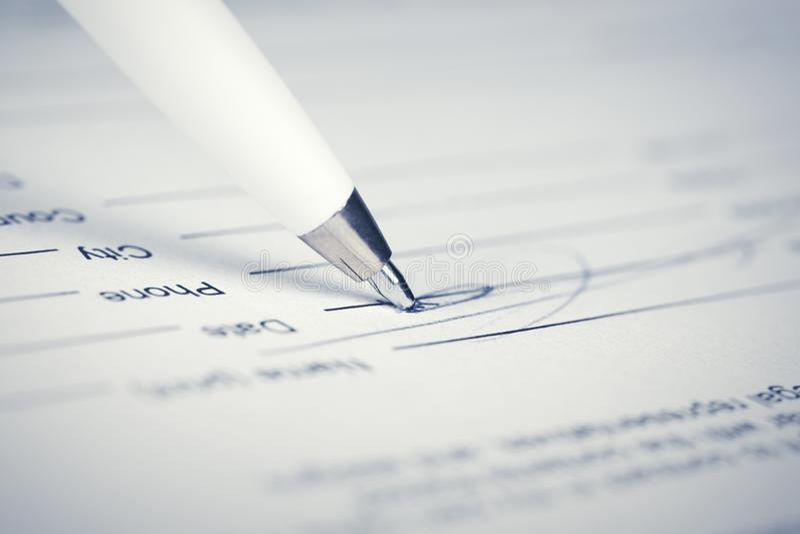 Contrato de firma foto de archivo