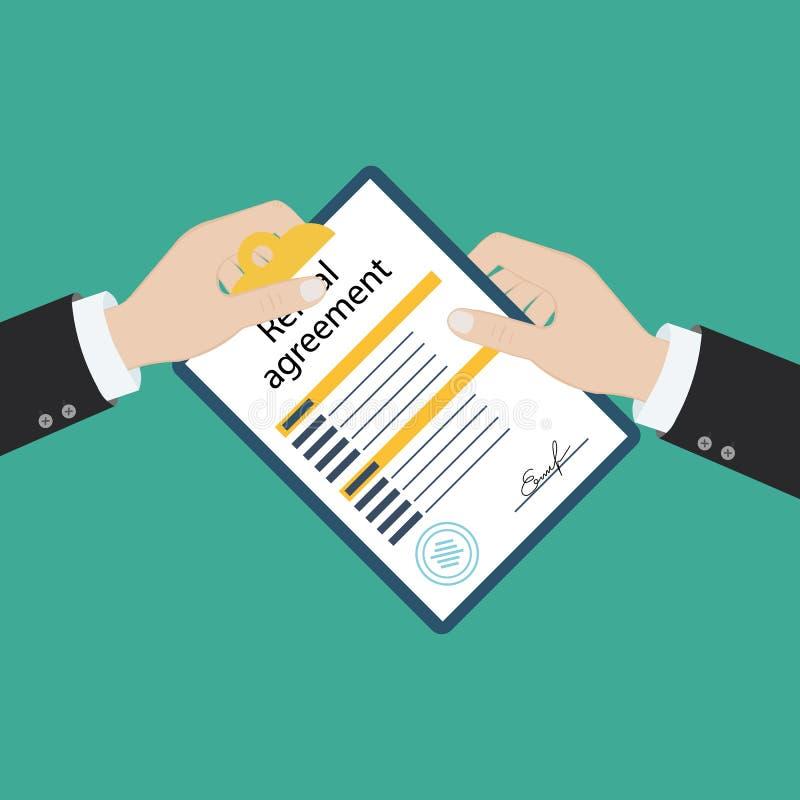 Contrato de la forma del contrato de alquiler Documento de firma Diseño plano del ejemplo del vector Aislado en fondo ilustración del vector