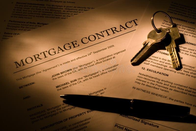 Contrato de la hipoteca fotos de archivo