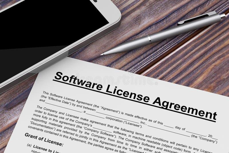 Contrato de licencia del software con el teléfono móvil y la pluma renderi 3D ilustración del vector