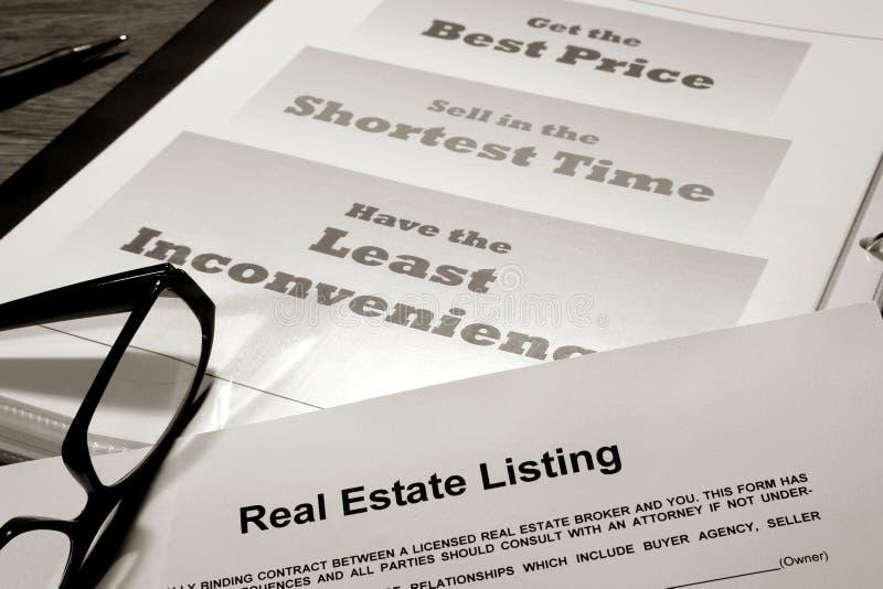 Contrato de lista dos bens imobiliários