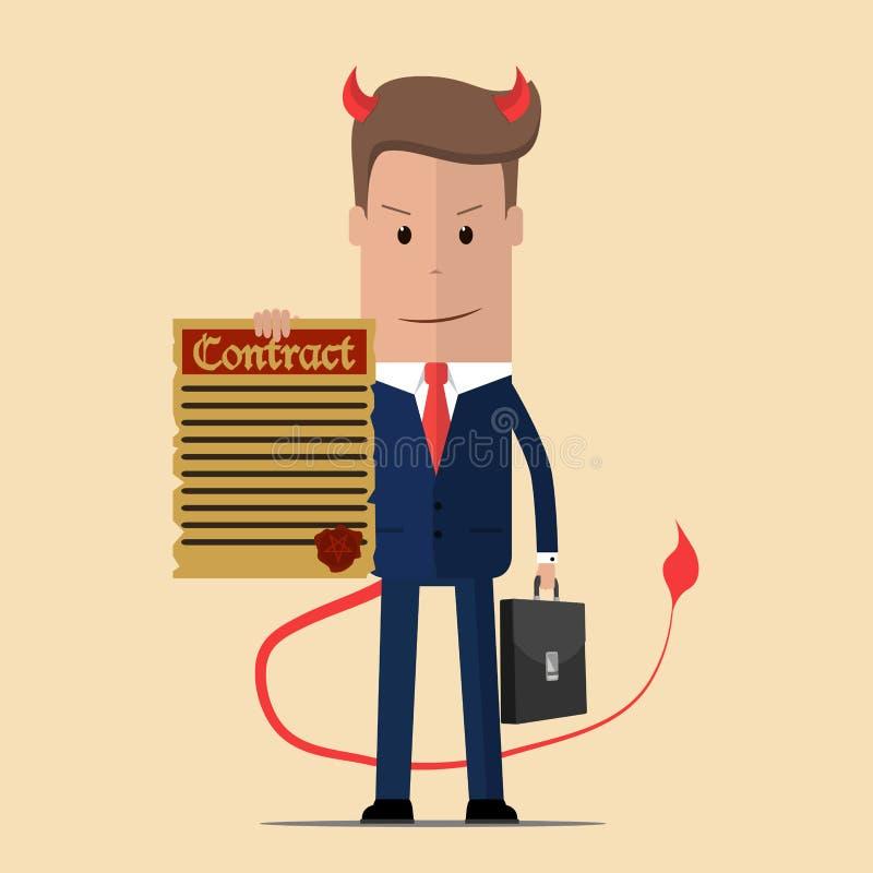 Contrato de ofrecimiento del hombre de negocios malvado El contrato del diablo Ilustración del vector stock de ilustración