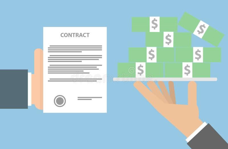 Contrato de troca para o conceito do dinheiro fotografia de stock royalty free