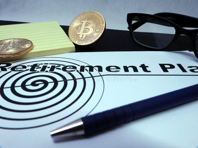 Contrato del plan de retiro de Bitcoin foto de archivo libre de regalías