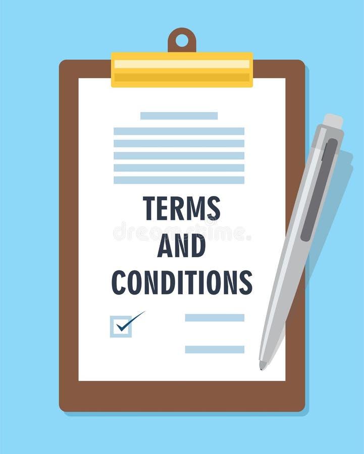 Contrato do acordo dos termos e condições ilustração do vetor