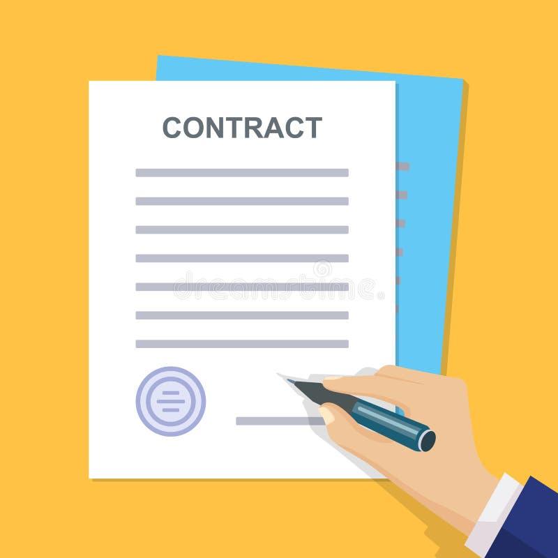 Contrato do negócio com assinatura Estilo liso Illuatratio do vetor ilustração stock