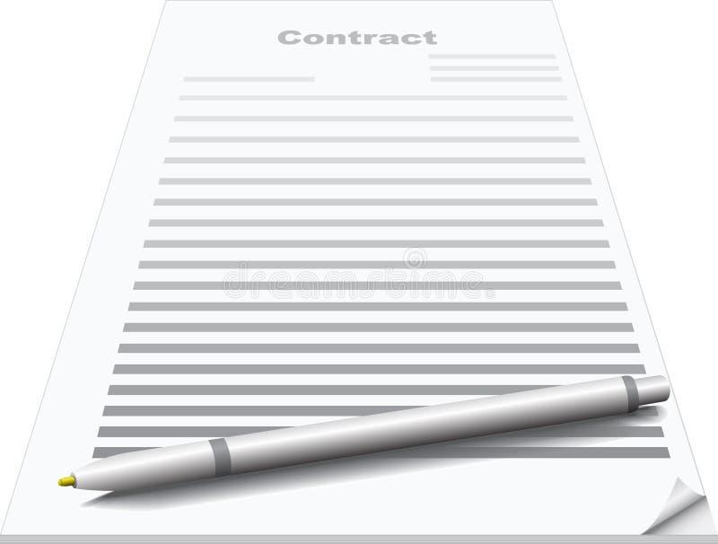 Contrato e pena ilustração royalty free