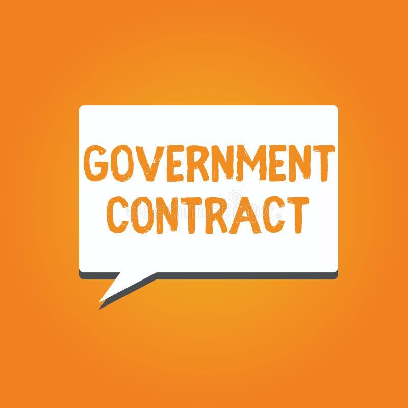 Contrato gubernamental del texto de la escritura de la palabra Concepto del negocio para que proceso del acuerdo venda servicios  stock de ilustración