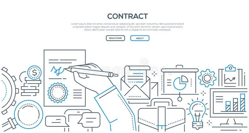 Contrato - linha moderna ilustração do estilo do projeto ilustração do vetor