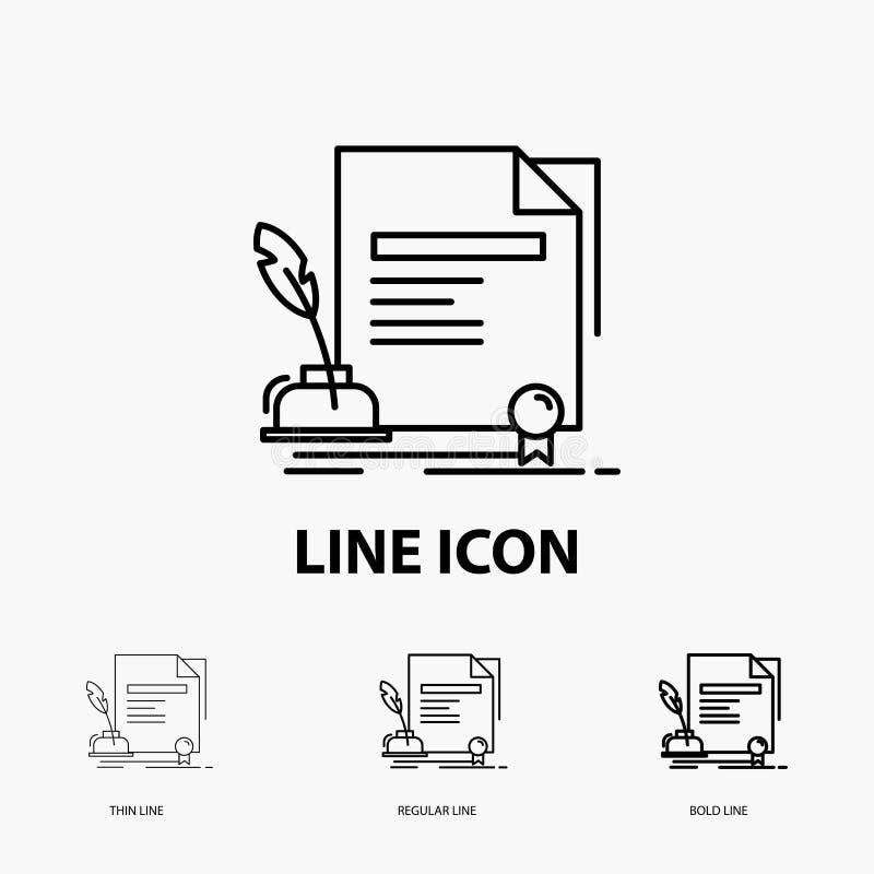 contrato, papel, documento, acordo, ícone da concessão na linha estilo fina, regular e corajosa Ilustra??o do vetor ilustração do vetor