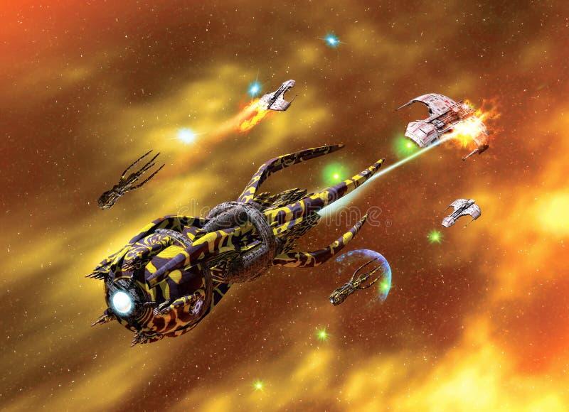 Contratorpedeiro e nebulosa da nave espacial ilustração stock